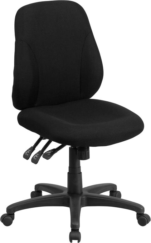 Wholesale Mid-Back Black Fabric Multifunction Swivel Ergonomic Task Office Chair