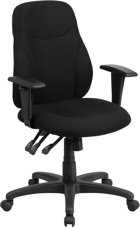 Wholesale Mid-Back Black Fabric Multifunction Swivel Ergonomic Task Office Chair with Adjustable Arms