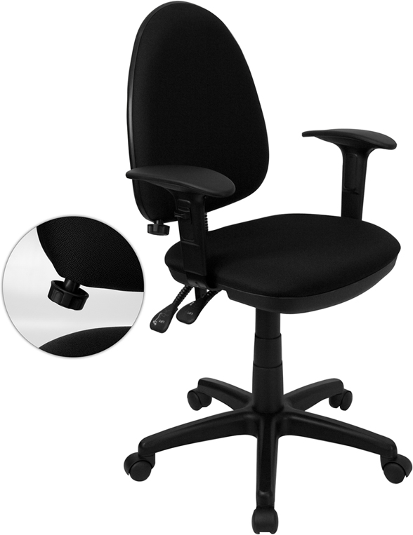 Wholesale Mid-Back Black Fabric Multifunction Swivel Ergonomic Task Office Chair with Adjustable Lumbar Support & Arms