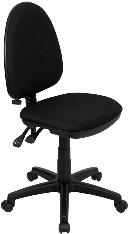 Wholesale Mid-Back Black Fabric Multifunction Swivel Ergonomic Task Office Chair with Adjustable Lumbar Support