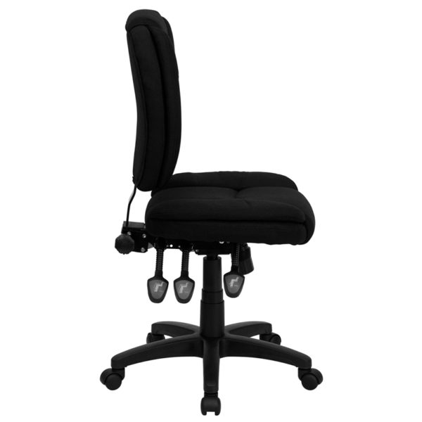 Lowest Price Mid-Back Black Fabric Multifunction Swivel Ergonomic Task Office Chair with Pillow Top Cushioning
