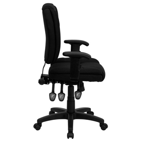Lowest Price Mid-Back Black Fabric Multifunction Swivel Ergonomic Task Office Chair with Pillow Top Cushioning and Arms
