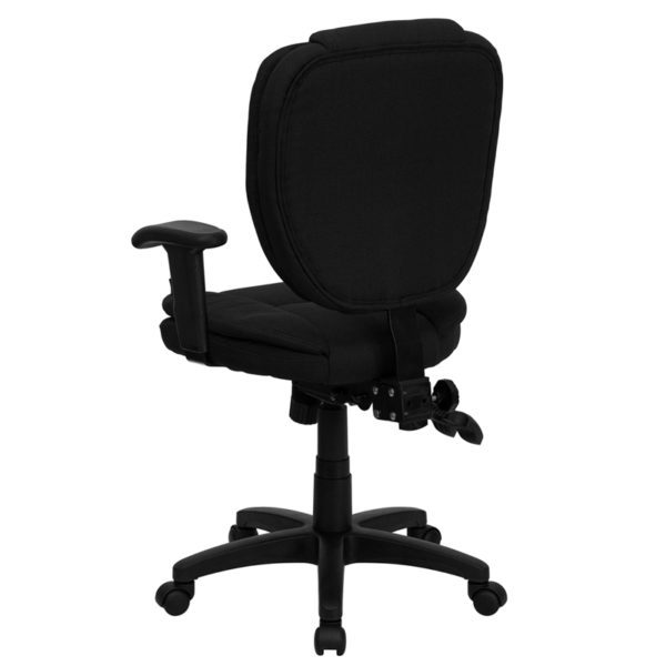 Contemporary Task Office Chair Black Mid-Back Fabric Chair