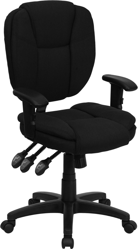 Wholesale Mid-Back Black Fabric Multifunction Swivel Ergonomic Task Office Chair with Pillow Top Cushioning and Arms