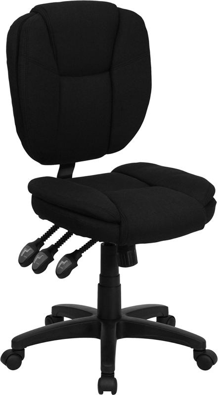 Wholesale Mid-Back Black Fabric Multifunction Swivel Ergonomic Task Office Chair with Pillow Top Cushioning