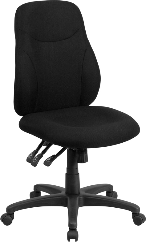 Wholesale Mid-Back Black Fabric Multifunction Swivel Ergonomic Task Office Chair
