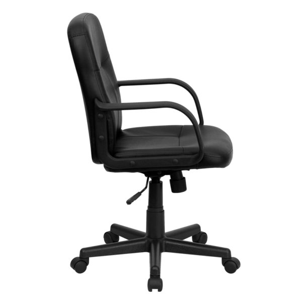 Lowest Price Mid-Back Black Glove Vinyl Executive Swivel Office Chair with Arms