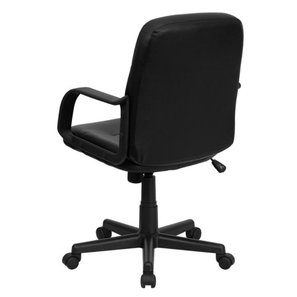 Contemporary Office Chair Black Mid-Back Vinyl Chair