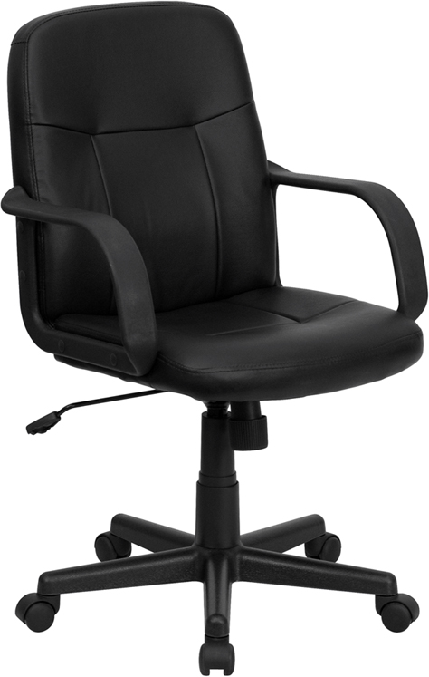 Wholesale Mid-Back Black Glove Vinyl Executive Swivel Office Chair with Arms