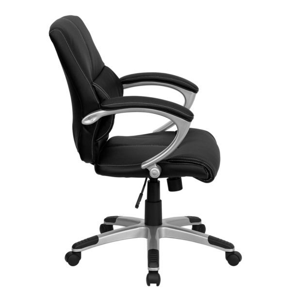 Lowest Price Mid-Back Black Leather Contemporary Swivel Manager's Office Chair with Arms