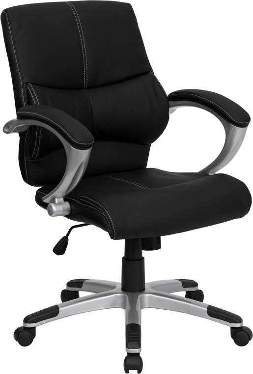 Wholesale Mid-Back Black Leather Contemporary Swivel Manager's Office Chair with Arms