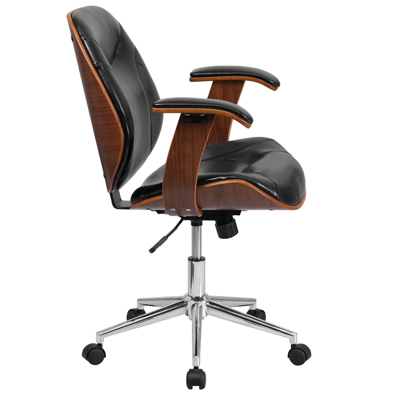 Mid Back Black Leather Executive Ergonomic Wood Swivel Office Chair With Arms Restaurant Furniture Org