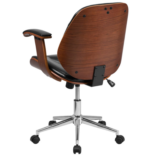 Contemporary Wood Office Chair Black Mid-Back Leather Chair