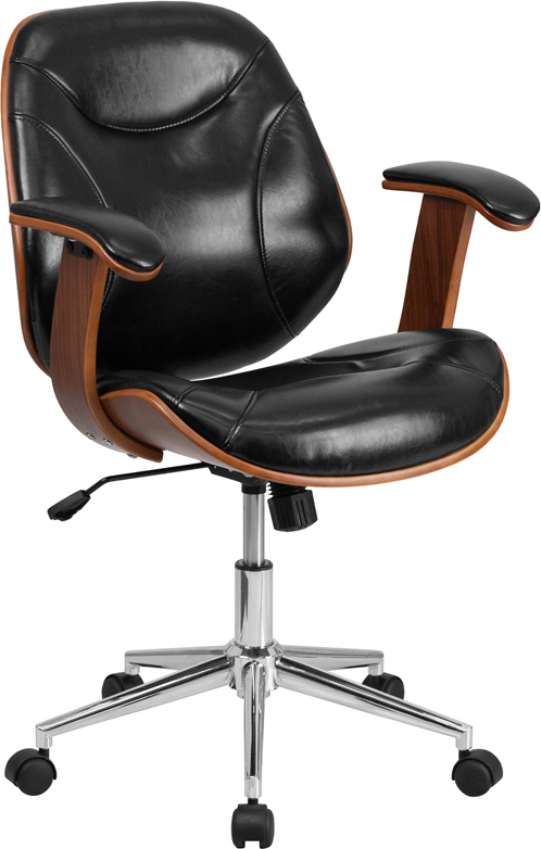 Wholesale Mid-Back Black Leather Executive Ergonomic Wood Swivel Office Chair with Arms