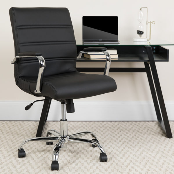 Lowest Price Mid-Back Black Leather Executive Swivel Office Chair with Chrome Base and Arms