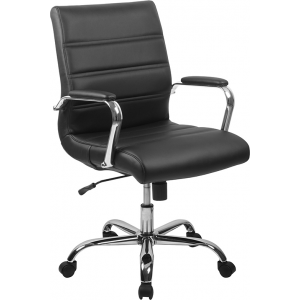 Wholesale Mid-Back Black Leather Executive Swivel Office Chair with Chrome Base and Arms