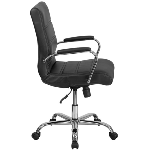 Contemporary Executive Office Chair with Padded Chrome Arms Black Mid-Back Leather Chair