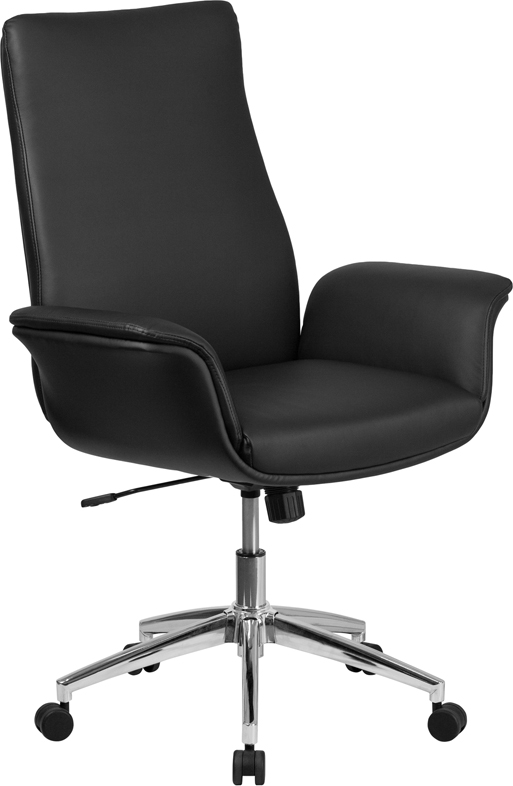 Wholesale Mid-Back Black Leather Executive Swivel Office Chair with Flared Arms
