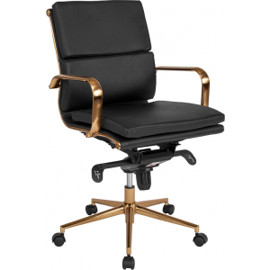 Wholesale Mid-Back Black Leather Executive Swivel Office Chair with Gold Frame