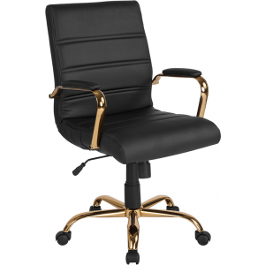 Wholesale Mid-Back Black Leather Executive Swivel Office Chair with Gold Frame and Arms