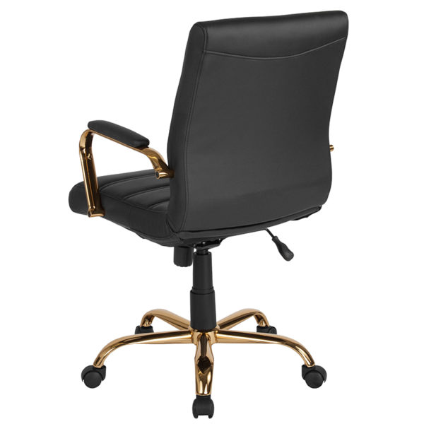 Contemporary Executive Office Chair with Padded Gold Metal Arms Black Mid-Back Leather Chair