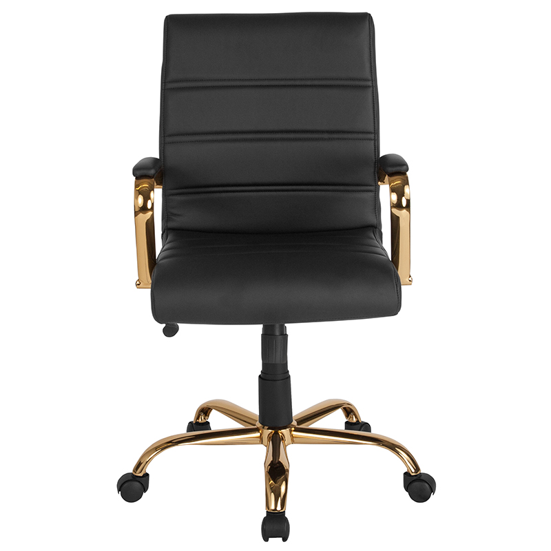 Mid Back Black Leather Executive Swivel Office Chair With Gold Frame And Arms Restaurant Furniture Org