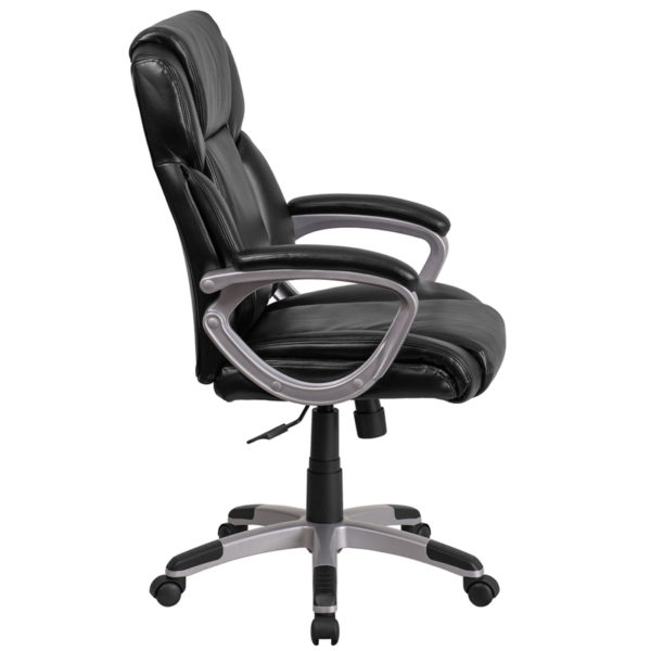 Lowest Price Mid-Back Black Leather Executive Swivel Office Chair with Padded Arms