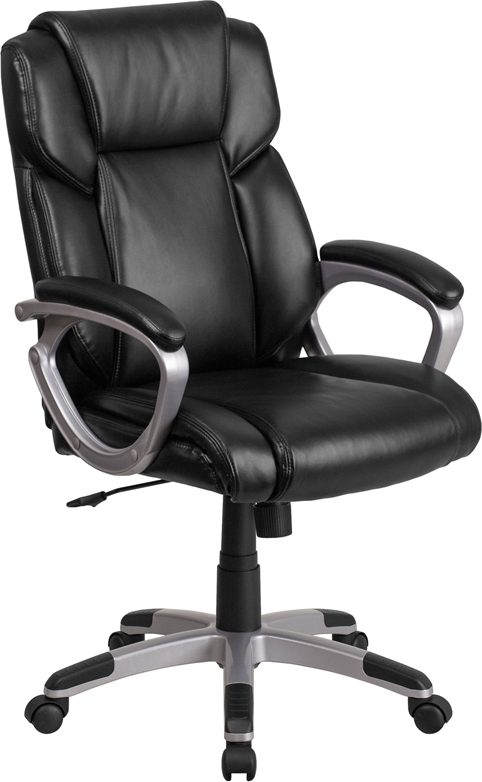 Wholesale Mid-Back Black Leather Executive Swivel Office Chair with Padded Arms