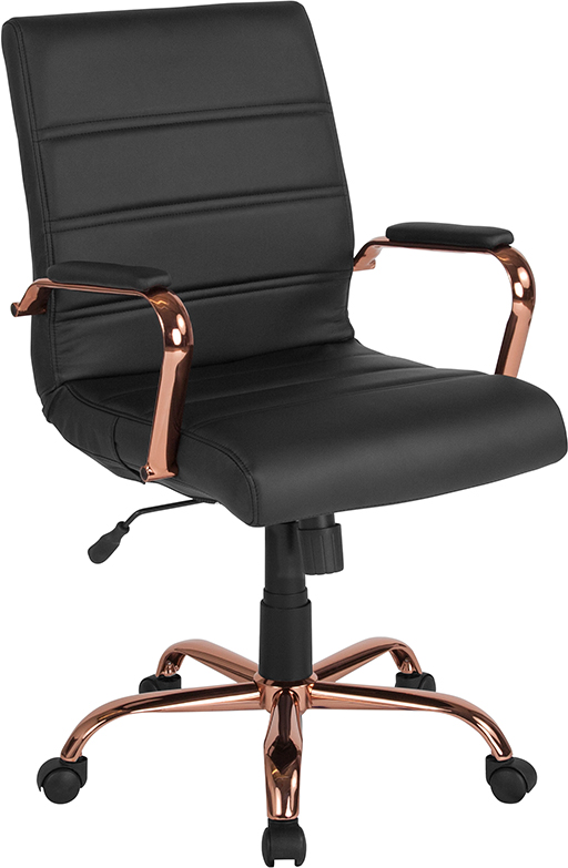 Wholesale Mid-Back Black Leather Executive Swivel Office Chair with Rose Gold Frame and Arms