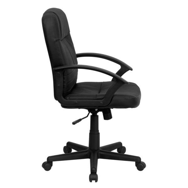 Lowest Price Mid-Back Black Leather Executive Swivel Office Chair with Rounded Back and Arms