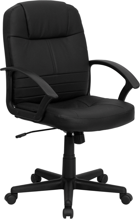 Wholesale Mid-Back Black Leather Executive Swivel Office Chair with Rounded Back and Arms