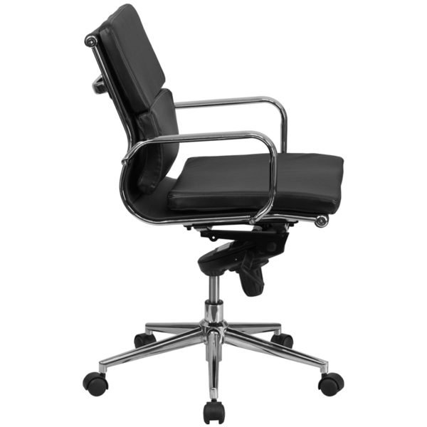 Lowest Price Mid-Back Black Leather Executive Swivel Office Chair with Synchro-Tilt Mechanism and Arms