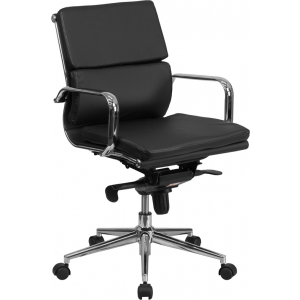 Wholesale Mid-Back Black Leather Executive Swivel Office Chair with Synchro-Tilt Mechanism and Arms