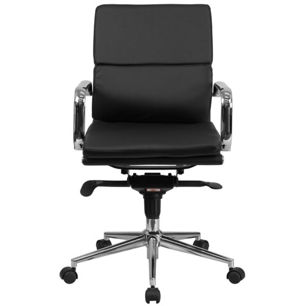 Mid Back Black Leather Executive Swivel Office Chair With Synchro Tilt Mechanism And Arms Restaurant Furniture Org