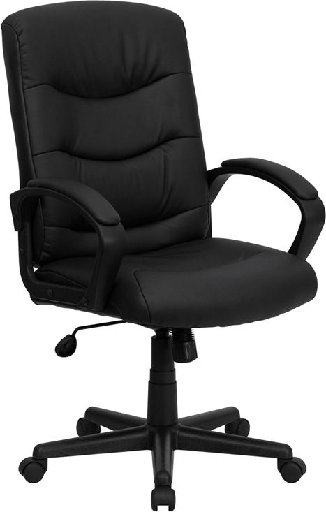 Wholesale Mid-Back Black Leather Executive Swivel Office Chair with Three Line Horizontal Stitch Back and Arms