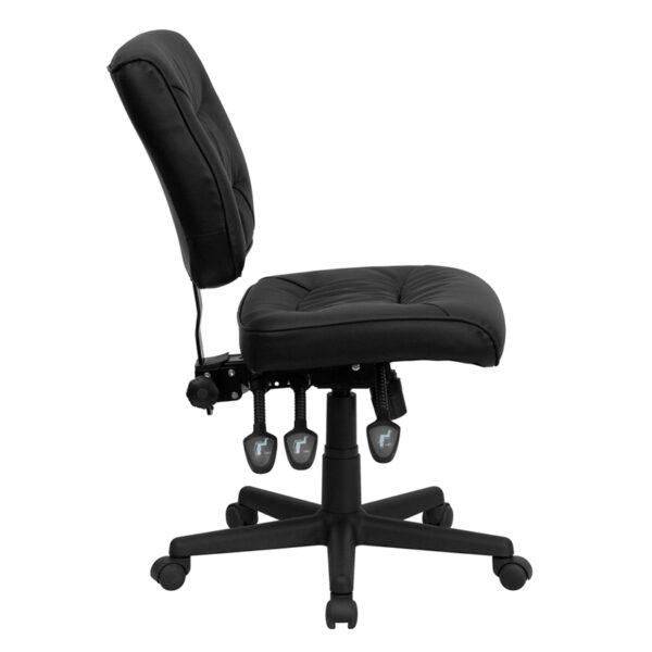 Lowest Price Mid-Back Black Leather Multifunction Swivel Ergonomic Task Office Chair