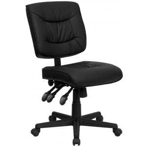 Wholesale Mid-Back Black Leather Multifunction Swivel Ergonomic Task Office Chair