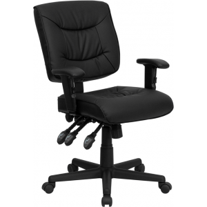 Wholesale Mid-Back Black Leather Multifunction Swivel Ergonomic Task Office Chair with Adjustable Arms