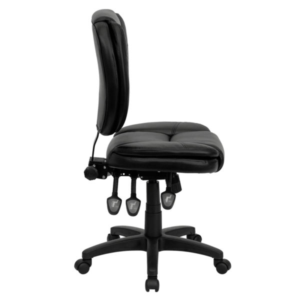 Lowest Price Mid-Back Black Leather Multifunction Swivel Ergonomic Task Office Chair with Pillow Top Cushioning