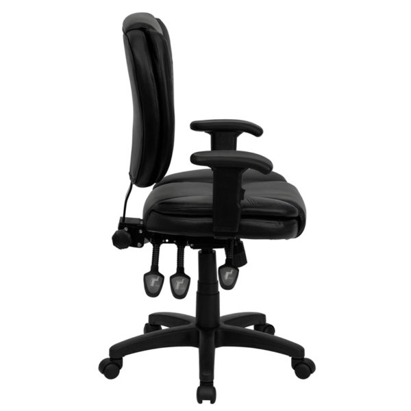 Lowest Price Mid-Back Black Leather Multifunction Swivel Ergonomic Task Office Chair with Pillow Top Cushioning and Arms