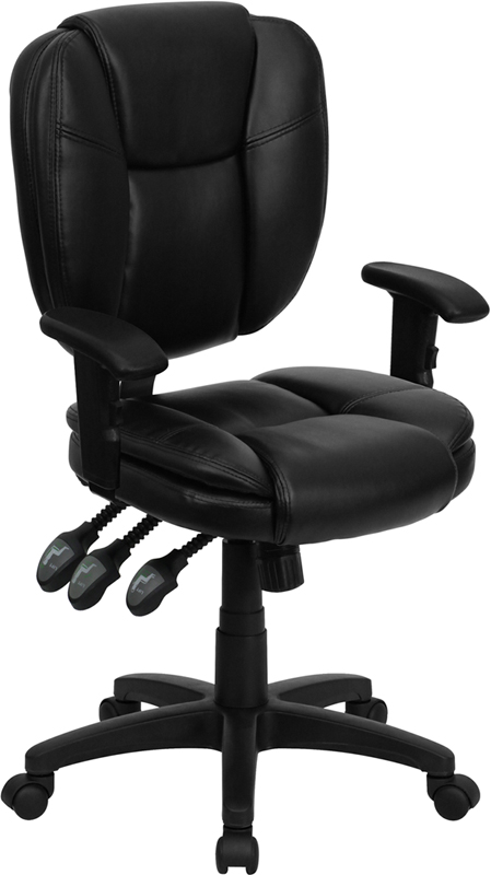 Wholesale Mid-Back Black Leather Multifunction Swivel Ergonomic Task Office Chair with Pillow Top Cushioning and Arms