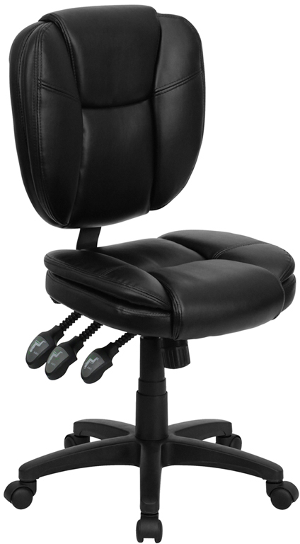 Wholesale Mid-Back Black Leather Multifunction Swivel Ergonomic Task Office Chair with Pillow Top Cushioning