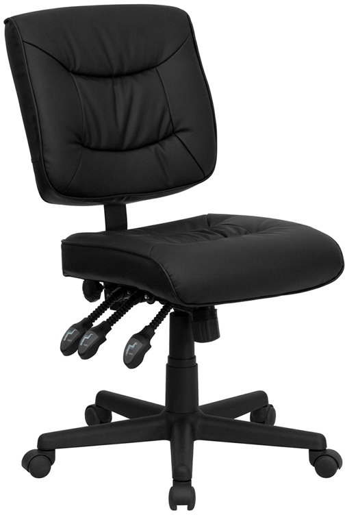 Wholesale Mid-Back Black Leather Multifunction Swivel Ergonomic Task Office Chair