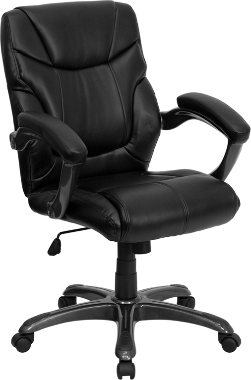 Wholesale Mid-Back Black Leather Overstuffed Swivel Task Ergonomic Office Chair with Arms