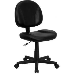 Wholesale Mid-Back Black Leather Swivel Ergonomic Task Office Chair with Back Depth Adjustment