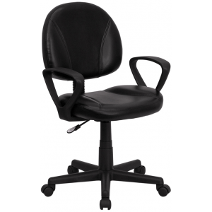 Wholesale Mid-Back Black Leather Swivel Ergonomic Task Office Chair with Back Depth Adjustment and Arms
