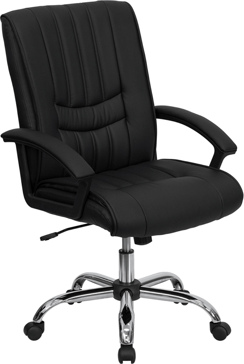 Wholesale Mid-Back Black Leather Swivel Manager's Office Chair with Arms