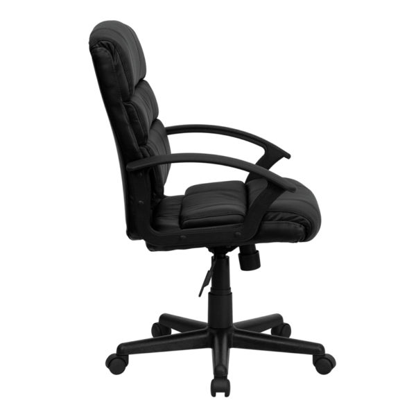 Lowest Price Mid-Back Black Leather Swivel Task Office Chair with Arms