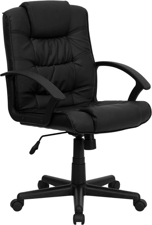 Wholesale Mid-Back Black Leather Swivel Task Office Chair with Arms