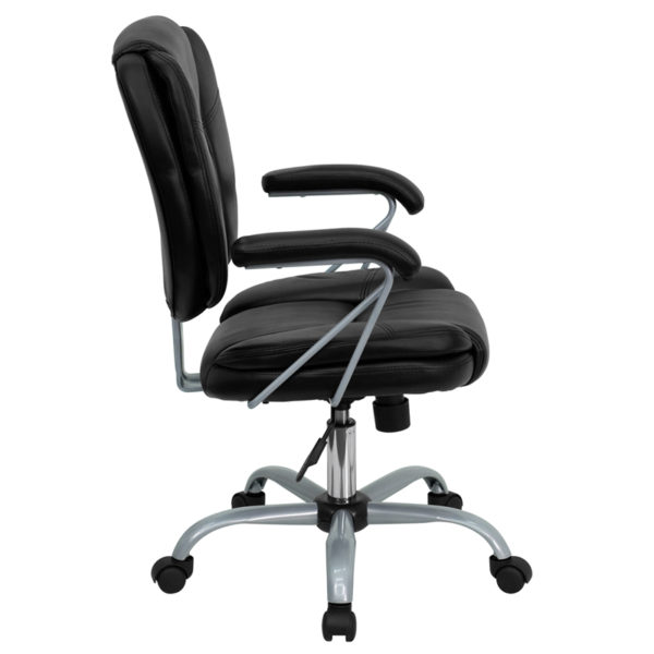 Lowest Price Mid-Back Black Leather Swivel Task Office Chair with Pillow Top Cushioning and Platinum Epoxy Base & Arms
